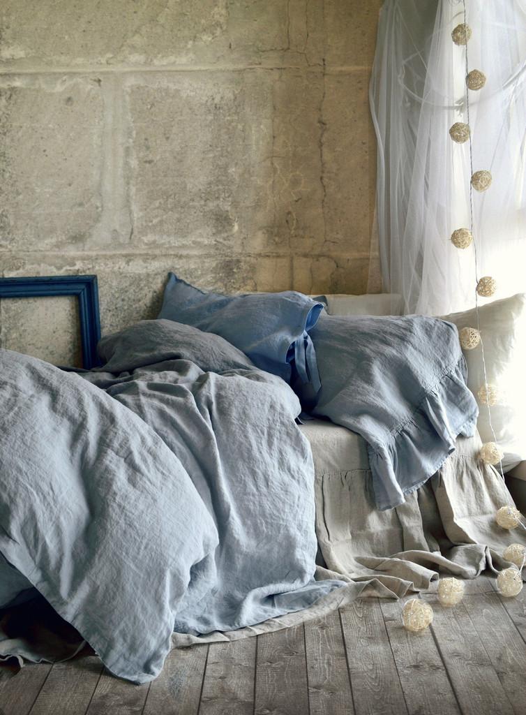 Pure Elegance, light grey stonewashed linen duvet/quilt cover