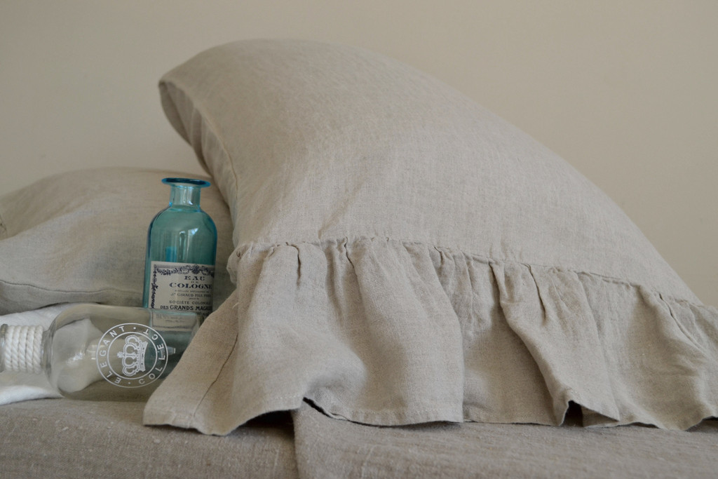 Natural linen pillow case with ruffle