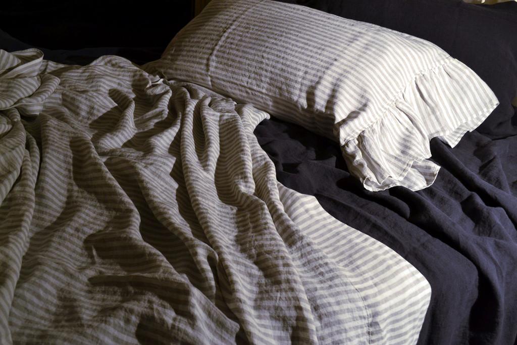 Pinstriped Linen Flat sheet, Queen and King sizes