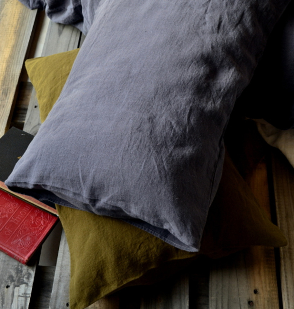 Charcoal stonewashed linen pillow case