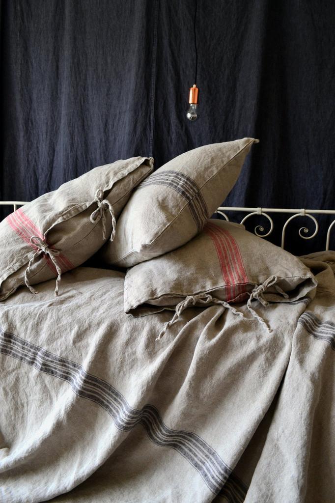 Grainsack Black Stripe Linen Pillowcase. All sizes