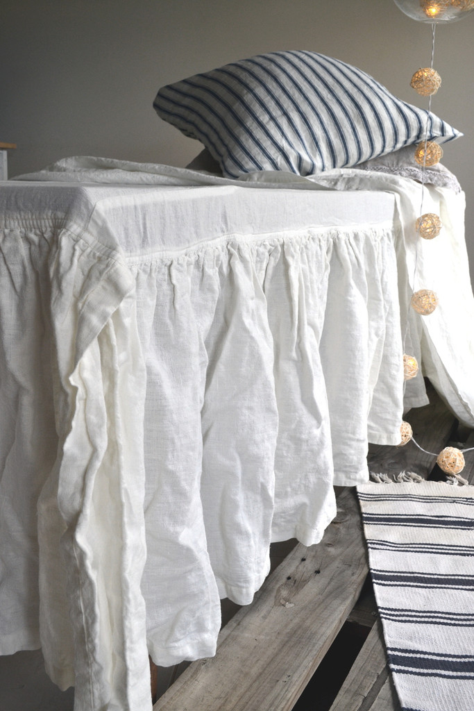 Ivory Heavy weight Linen Ruffled Valance⎮Bedskirt⎮Dust Ruffle