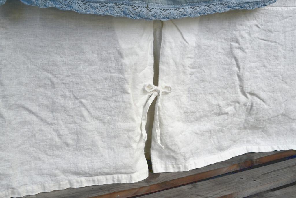 Ivory Heavy weight Linen Box Pleated Valance⎮Bedskirt⎮Dust Ruffle