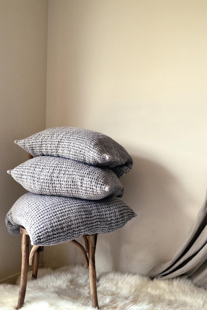Fossil Grey Waffle Linen Pillow Case. Super heavy weight linen