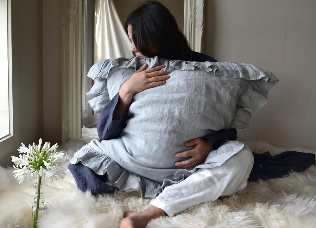 Light Grey Ruffled linen pillow case