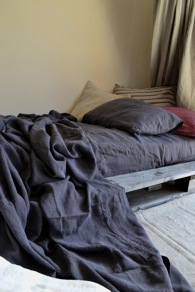 Charcoal Stonewashed Linen Flat/Top Sheet
