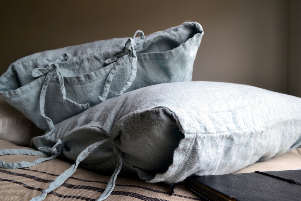 Duck Egg Blue Rustic Heavy weight  linen pillow case, All sizes