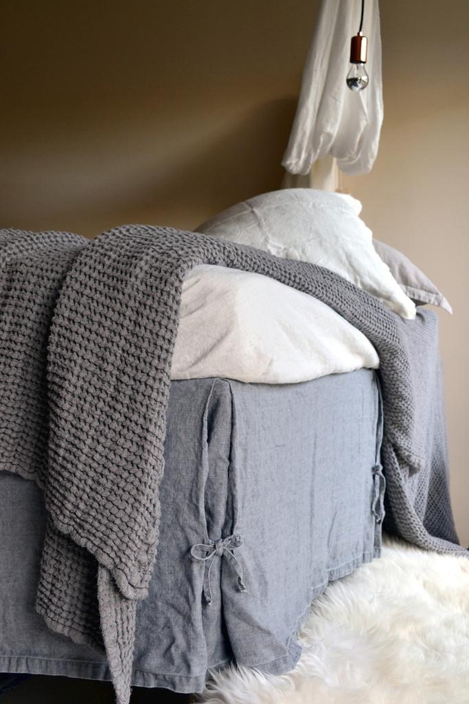 Fossil Grey Heavy weight Linen Box Pleated Valance⎮Bedskirt⎮Dust Ruffle