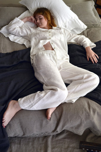 Luxurious natural stonewashed linen sleepwear. Pajama Set