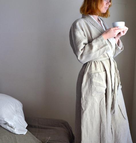 Long natural linen robe