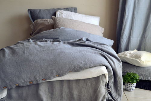 Dove Grey stonewashed linen quilt cover. Heavy weight rustic linen