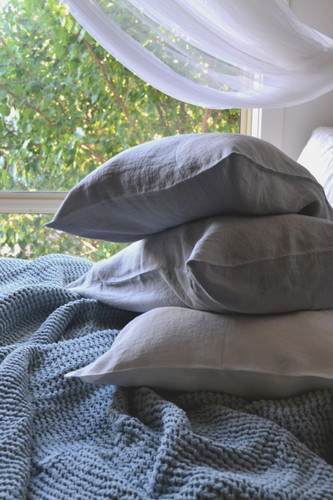 Light grey stonewashed linen pillow case