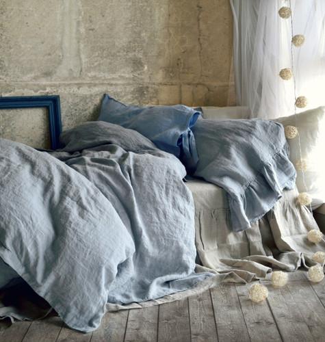 pure elegance light grey stonewashed linen duvetquilt cover