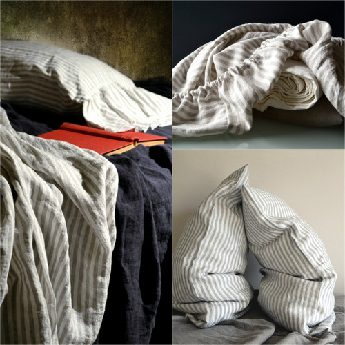 Grey and White Pinstriped linen fitted sheet