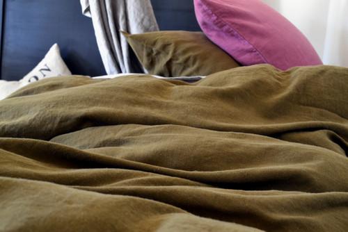 Dark Olive Green natural stonewashed linen bedding