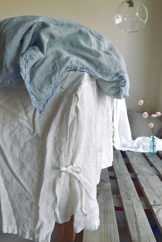 Ivory Heavy weight Linen Box Pleated Valance⎮Bedskirt⎮Dust Ruffle