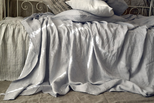 Silver light grey luxurious linen flat sheet