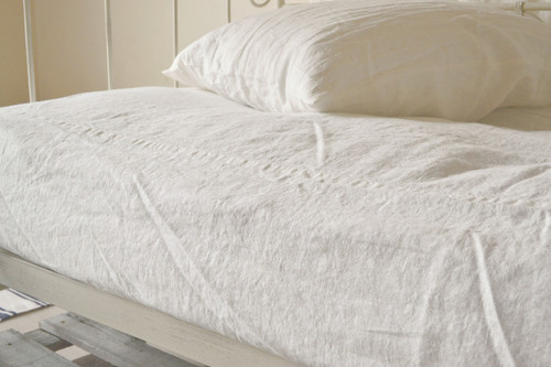 Rustic Rough heavy weight linen fitted sheet, Ivory