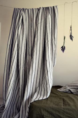 Vintage Black Ticking linen flat sheet