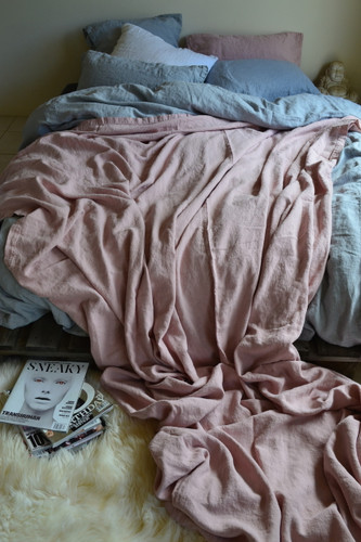 Rose Quartz Heavy Linen Bed cover/Coverlet