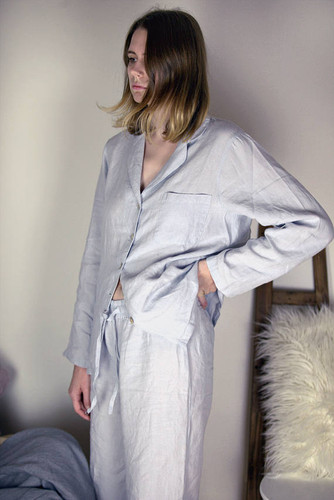 Silver Grey stonewashed linen sleepwear. Pajama Set