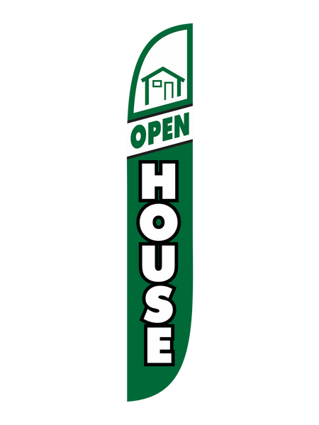 Open House Green and White Feather Flag