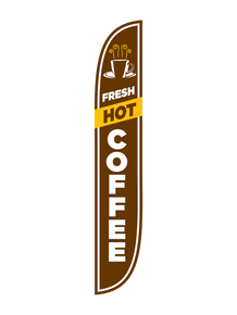Fresh Hot Coffee - Brown Feather Flag