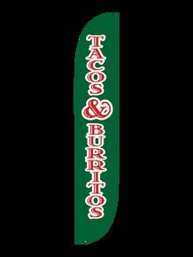 Tacos & Burritos Green Feather Flag