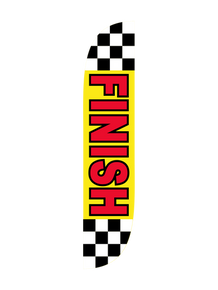 Finish Checker & Yellow Feather Flag