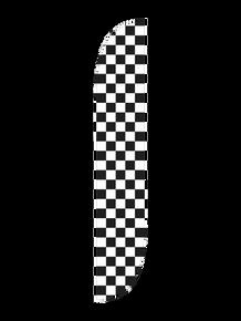 Black & White Checkered Feather Flag