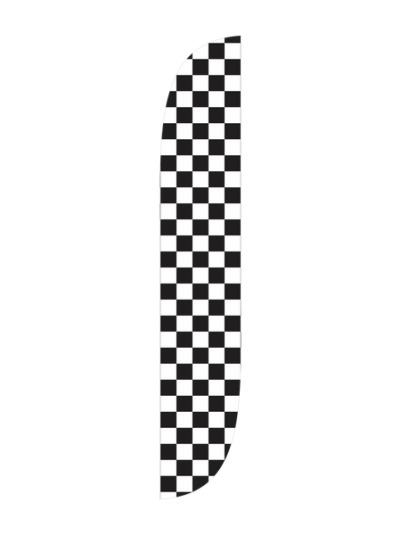 Black & White Checkered Feather Flag