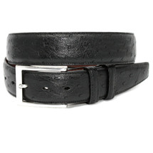 Genuine Ostrich Belt Matte Black