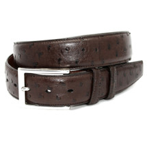 Genuine Ostrich Belt Matte Brown