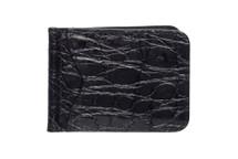 Money Clip Genuine Alligator Wallet Glazed Black