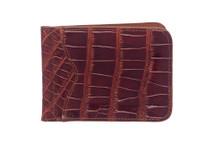 Money Clip Genuine Alligator Wallet Glazed Cognac