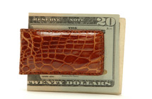 Magnetic Genuine Alligator Money Clip Glazed Cognac