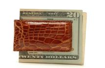 Magnetic Genuine Alligator Money Clip Glazed Cognac