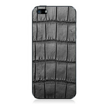 iPhone 5 Back Genuine Alligator Black Oiled