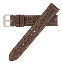 Genuine Alligator Watch Band Matte Brown - Round Grain