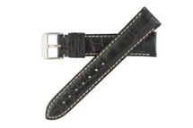 Genuine Crocodile Watch Band Black - Contrast Stitching