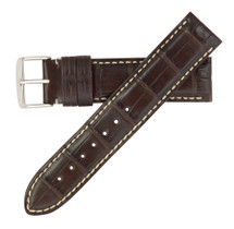 Genuine Alligator Watch Band Brown - Contrast Stitching