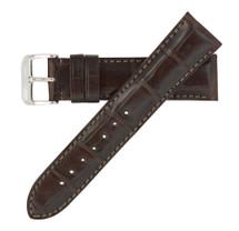 Genuine Alligator Watch Band Matte Dark Brown