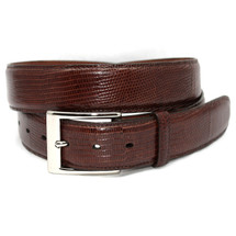 Genuine Lizard Belt Glazed Cognac - Wide