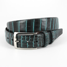 Genuine Crocodile Belt Two-Tone Black/Turquoise