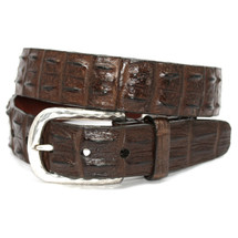 Genuine Hornback Crocodile Belt Brown