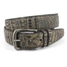 Genuine Crocodile Belt Sueded Moss