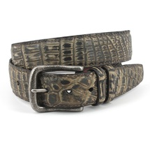 Genuine Crocodile Belt Sueded Brown