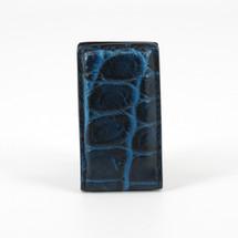 Genuine Crocodile Magnetic Money Clip Navy/Blue