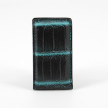 Genuine Crocodile Magnetic Money Clip Black/Turquoise
