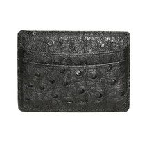 Genuine Ostrich Card Case Black